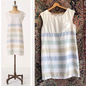 SALE Final $Anthropologie Striped Shift Silk Dress