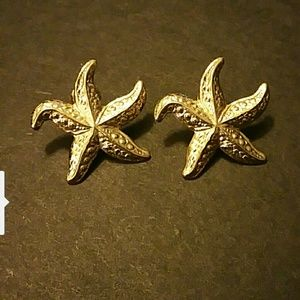 Starfish Gold Tone Post Earrings