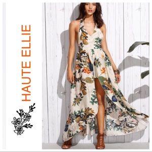 Haute Ellie Pants - Monsoon Tropics Halter Maxi Romper