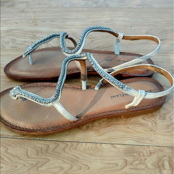 69a50db38be5 Antonio Melani Samantha Silver Snake Sandals