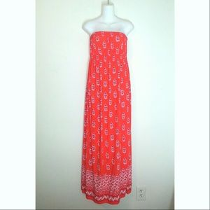 Old Navy Maternity Red Patterned Sleeveless Dress