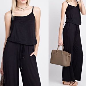 Pink Peplum Boutique Pants - 🆕 Solid black rayon spandex super comfy jumpsuit