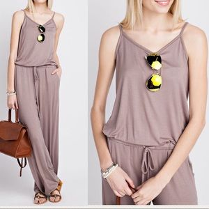 Pink Peplum Boutique Pants - 🆕 Sleeveless spaghetti strap mocha brown jumpsuit