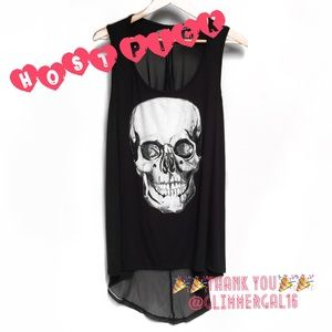torrid Tops - 🆕 White Skull Hi Lo Tank W/Sheer Back