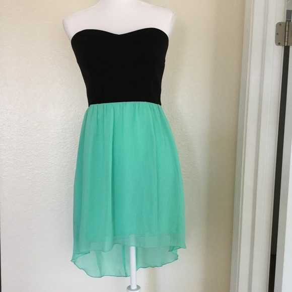 Black and Mint High Low Dress