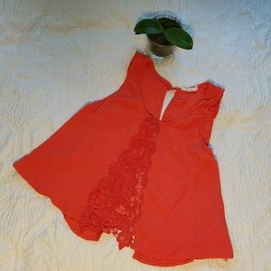 Lush Tops - Lush Orange Summer Tank Top With Lace Accent