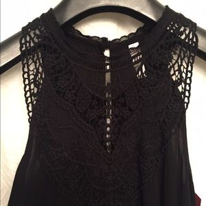 Dresses & Skirts - Black sundress with lace detail!