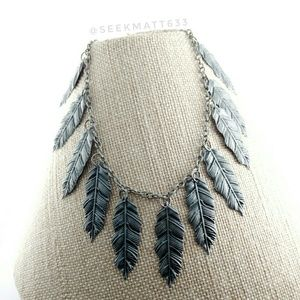 Jewelry - Multiple Oxidized Antique Silver Feather Necklace