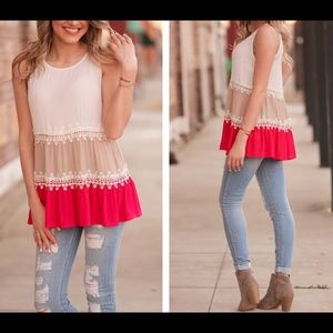 Lemon's Lovelies Tops - Color Block Lace Tunic💞💞