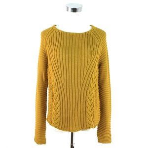 Zara Gold Yellow Cable Knit Sweater. Medium EUC