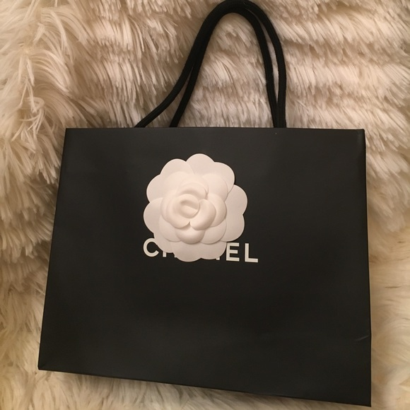 chanel authentic chanel shopping bag with camellia