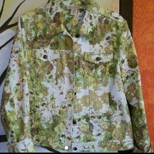 Jackets & Blazers - Flowered Jeans Jacket