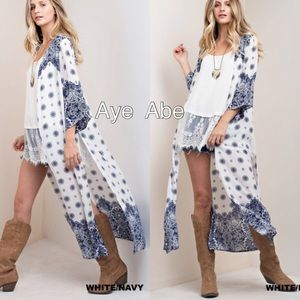 Sweaters - Duster print cardigan open front paisleys boho