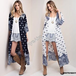 Sweaters - Print duster cardigan boho navy or white side slit