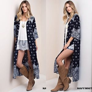 Sweaters - New Print duster cardigan boho long coverup sexy