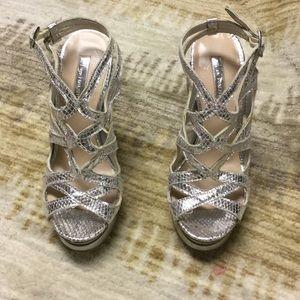 Silver Strapy Platform Heels