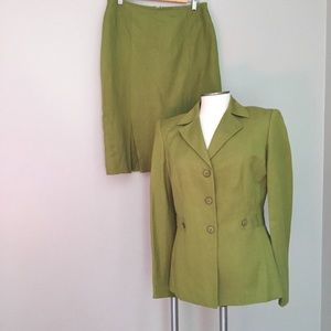 Le Suit Jackets & Blazers - Le Suit green linen 2 pc blazer skirt suit 8