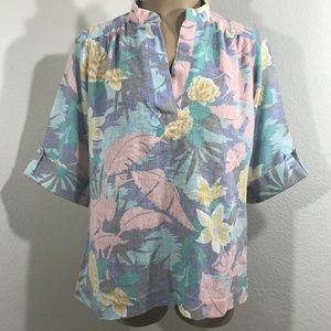 Vintage 1980s Teddi Of California Hawaiian Blouse