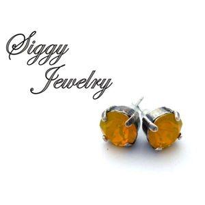 Swarovski Crystal Yellow Opal Stud Earrings