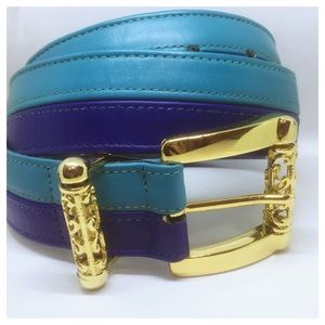 Doncaster Accessories - Vintage Blue Doncaster ColorBlock Belt Sz L