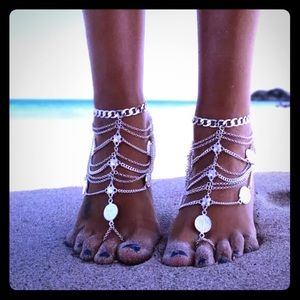 Jewelry - Silver or Gold Boho Coin Foot Ankle Jewelry