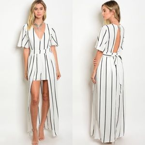 The O Boutique Pants - 🆕 Off-White & Black Striped Belted Maxi Romper