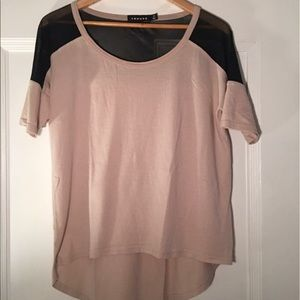 Trouve Tops - Tan and Black Mesh Trouvé Shirt