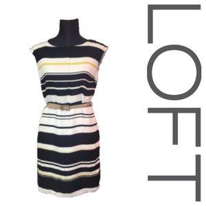 Loft blue and yellow striped shift dress