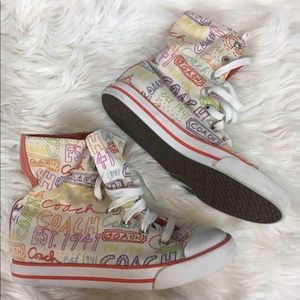 Coach bonney high top lace up sneakers logo