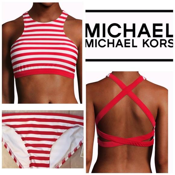 b8c25279a517f MICHAEL Michael Kors Swim | Michael Kors Striped Highneck Crossback ...