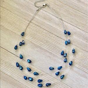 Jewelry - 🎉Chrome Blue🎉3 Strand Necklace