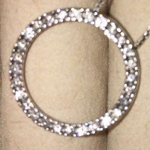 14 k White gold diamond circle pendant & earrings