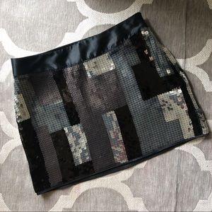 Express Colorblock Sparkle Sequin Mini Skirt