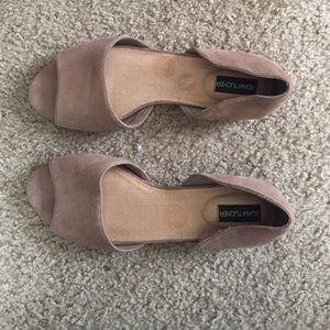 Adam Tucker Shoes - Adam Tucker leather peep toe flats 7.5 nude NWOT