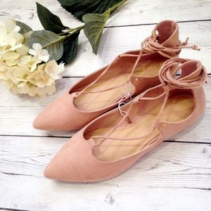 Old Navy Shoes - NWT Rose Pointed Lace Up Flats Size 8