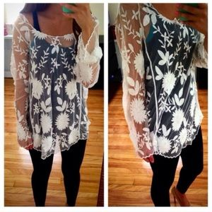 🌸NEW🌸 Sheer White Lace Tunic Top Summer Chic