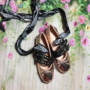 Shoes - Rose gold lace up ballet flats var sizes