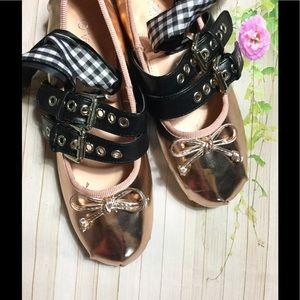 Shoes - CCO Rose gold lace up ballet flats sizes var sz