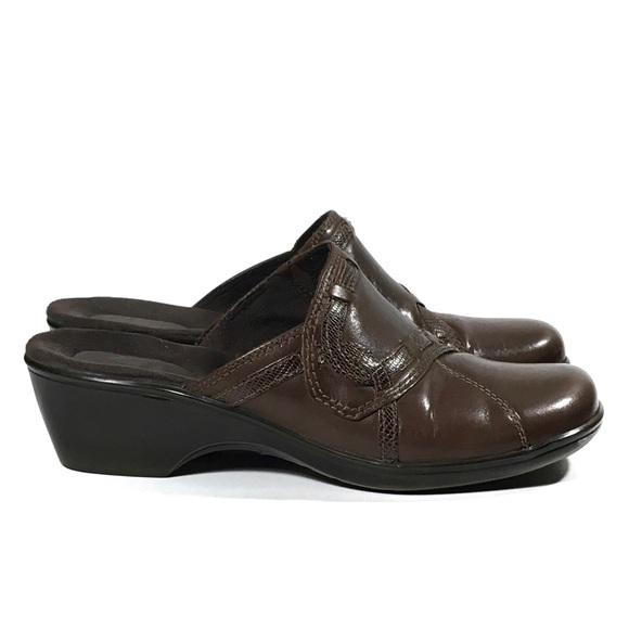 Brown Leather Mule Shoes
