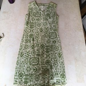 VINTAGE Green &White Dress
