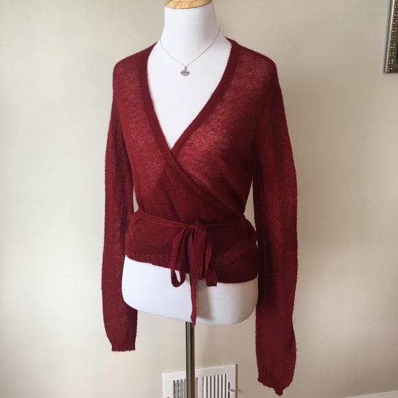 Sisley - Vintage Sisley burgundy wrap sweater size medium from ...
