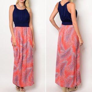 Dresses & Skirts - New! Navy top, vibrant skirt Maxi dress
