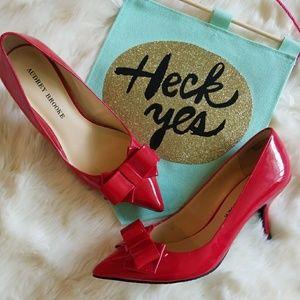 Audrey Brooke Shoes - Red Patent Pumps