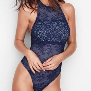48941160060 VICTORIA'S SECRET Crochet Lace High-neck Bodysuit NWT