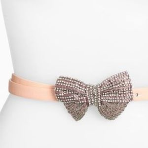 Tarnish Accessories - Tarnish Nordstrom skinny sparkle bow belt pink szS