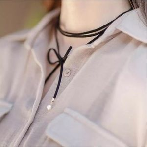 Jewelry - Black Rope & Pearls Choker