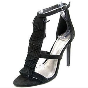 BCBGeneration chari open toe suede fringe heels