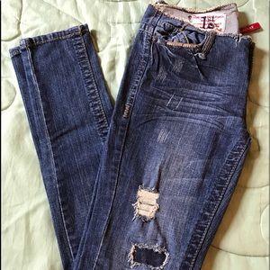 1st Kiss Denim - 1st Kiss dark blue distressed scuffed skinny Jeans