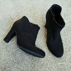 Sam & Libby Shoes - Black suede block heel booties