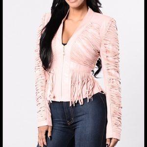 Fashion Nova Jackets & Blazers - Faux leather fringe jacket